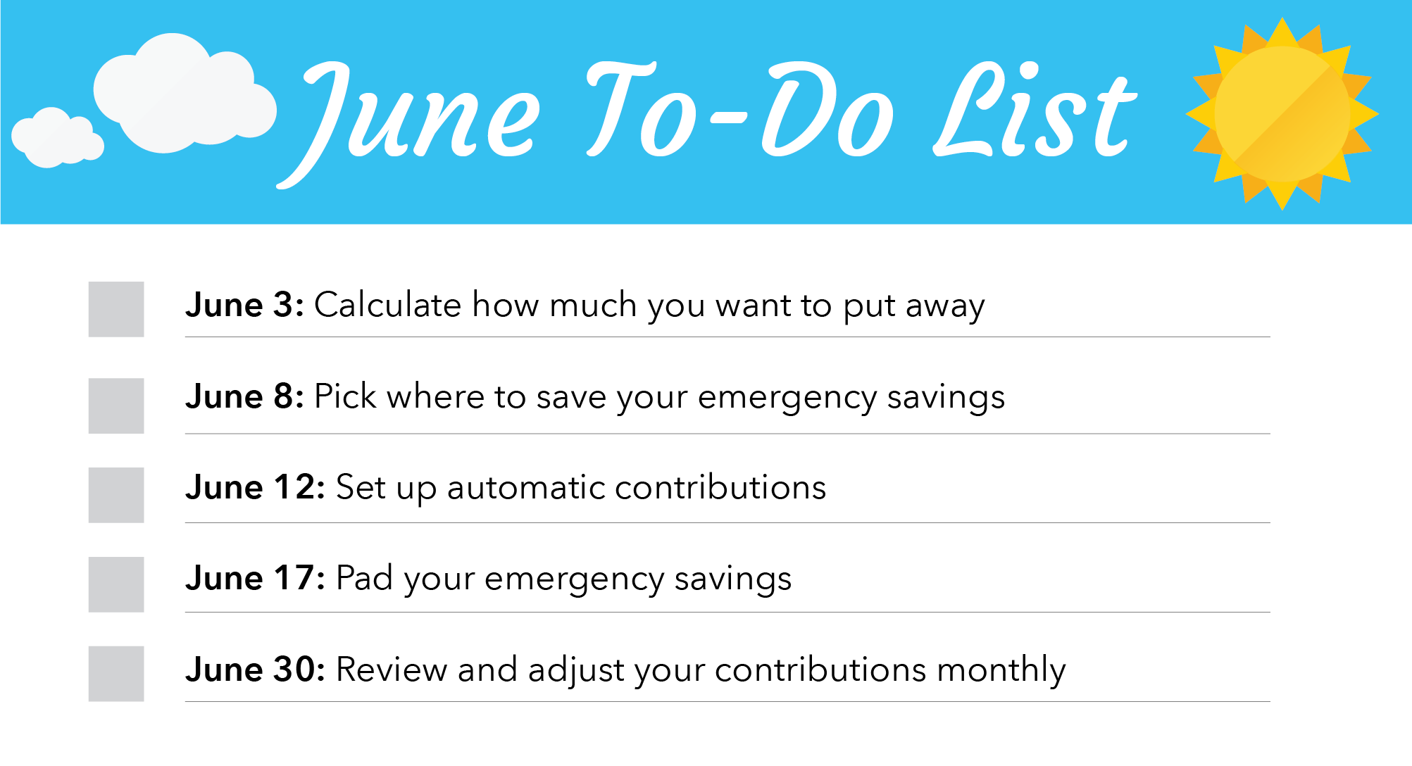 June Financial To-Do List + Calendar